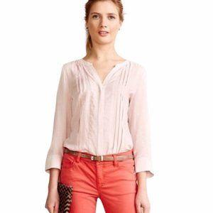 Anthropologie Maeve Pleated Tunic V-Neck Blush Pink ¾ sleeve